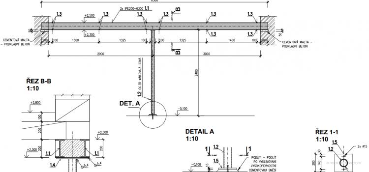 Schéma ocelového průvlaku - garáž